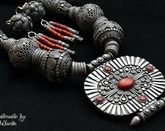 Tibetan beaded necklace Polymer clay jewelry set Statement necklace Dangle earrings Tibetan style Tibetan jewelry set Boho style Asian style