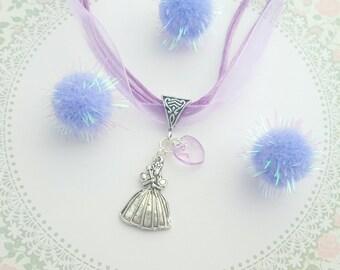 Princess Necklace, Kids Jewelry, Organza Necklace, Princess Jewelry, Children's Fashion, Lilac Necklace, Princess Charm, Childrens Gift