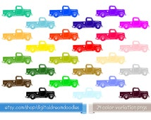 Truck Clipart, Pickup Trucks Clip Art, Vintage Auto Clipart, Old Vehicle Clipart, Trucker Image, Truck Icon Scrapbook Craft Instant Download