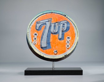 Vintage 7 UP neon sign photo / 7 UP sign / retro neon art / vintage display sign / Orange sign / retro sign / mid century decor / soda sign