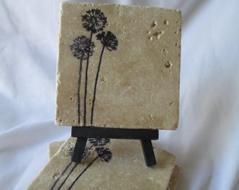 Dandelion Coasters, Set of 4, handmade, Drink Coasters, hostess gift, barware, Flower coasters, coasters, Stone tile coasters