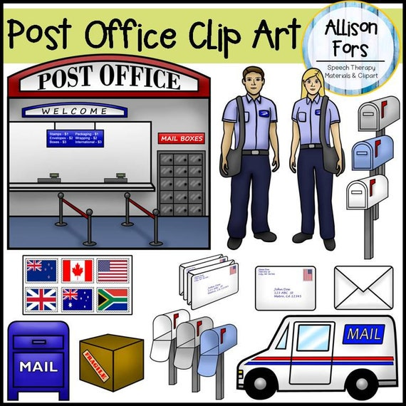 Post Office & Postman Clip Art