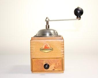 Coffee Grinder with wood Box Vintage German Zassenhaus Coffee Mill 1950s