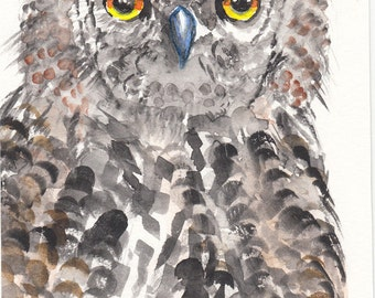 OWL for OWL - lover, watercolor 13 x 22 cm
