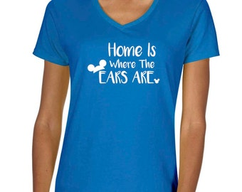 "Disney ""Home is where the ears are"" Vneck Thsirt"