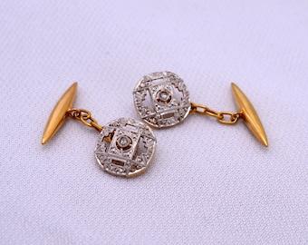 """Art Deco Diamonds Platinum Gold 18 k antique Cufflinks """"twins"""" in 18 k Gold Platinum and brilliant"""