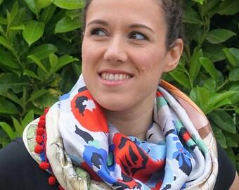 Shawl made using vintage silk scarfs - Blue White Red
