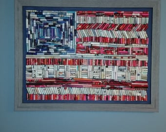 Paper Flag, American flag mosaic from recycled paper, 18x24