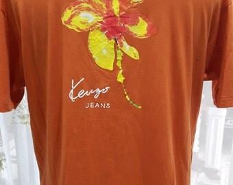 Vintage Kenzo Jeans Paris Orange fashion designer beautiful art design Free SizeT-Shirt (C016)