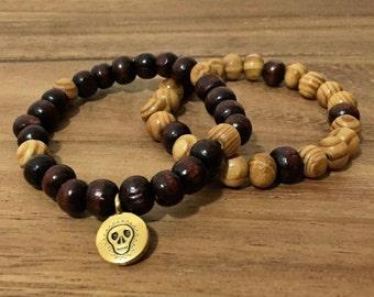 Wood Beaded Bracelet Stack, Skull Charm Bracelet Stack, Stretch Bracelet Stacking, Gold Skull Charm, Brown Wood Bead Bracelet, Men Bracelet