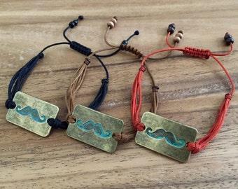 Mustache Bracelet, Adjustable Bracelet, Mustache Plate Bracelet, Patina Mustache Plate, Movember, Mustache Charm