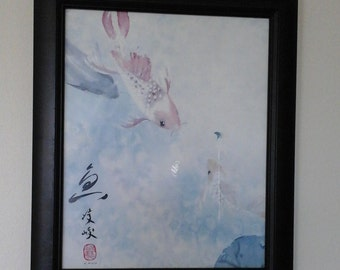 Signed watercolor koi oriental painting