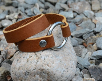 LEATHER Bracelet, DOUBLE WRAP Bracelet with solid ring