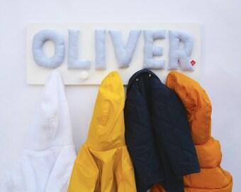 Boys wardrobe with name, personalized boy gift, blue, coat hooks, coat rack, coat peg, wardrobe