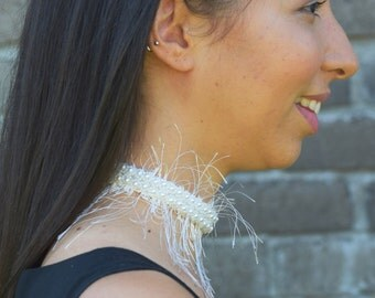 Wedding Gift - Elegant Feathered Bridal Choker, One | One-of-a-kind fringed with pearls and beaded flowers choker necklace gift for bride
