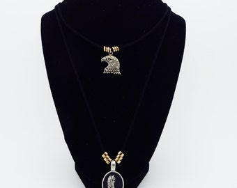Black Eagle Head And Feather Faux Suede Necklace