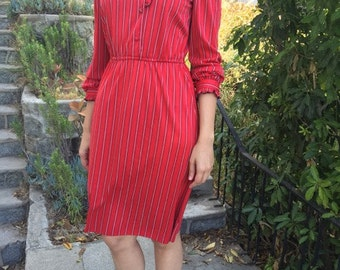 Vintage Red Dress with Ruffle Details, 3/4 sleeves, Small