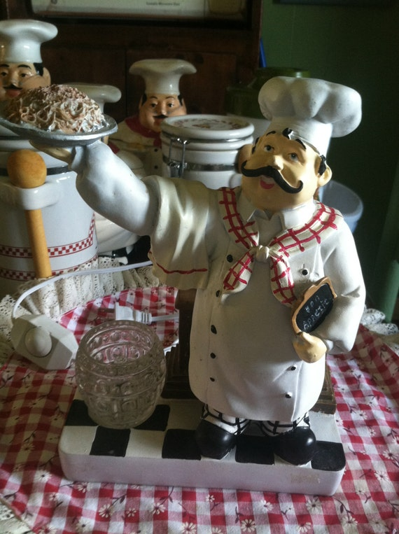 Vintage Polyresin Fat Chef Electric Oil Warmer Fat Chef