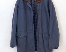 Pogonip Parka — 1980s vintage flannel lined cotton coat // High Sierra light blue zippered coat // mom style // medium // large