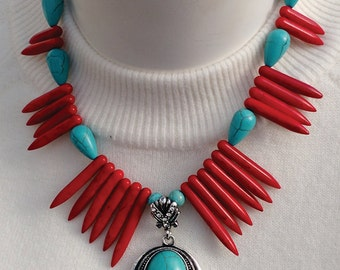 Turquois Necklace with Red Spikes, Turquois and Silver Pendant