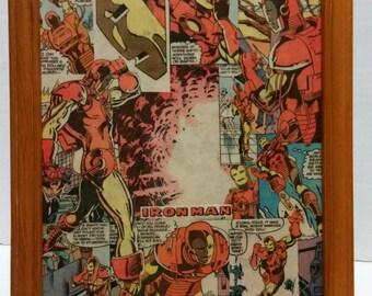 """Vintage (1983) Iron-Man 8x10"""" Comic Collage Portrait"""