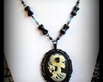 SALE 50% OFF - Gothic Macabre Skeleton Portrait Cameo Beaded Necklace