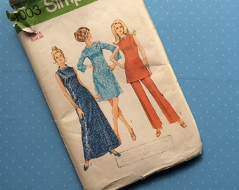 """Vintage Sewing Pattern - Simplicity 9003 - Retro 1970 Dressmaking Pattern - Size 16 Bust 38"""" Sewing"""
