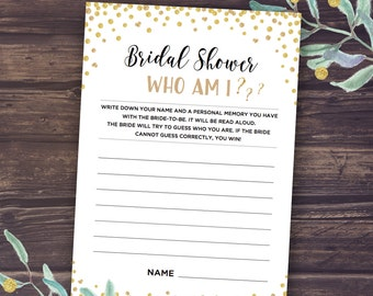 Bachelorette Party Games, Bridal Shower Games WHO AM I, Instant Download, Glitter Confetti, Funny and Entertaining, Bride, Digital DIY