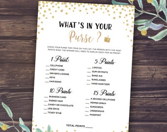 Whats in Your Purse Game, Printable Wedding Shower Game, Bridal Shower Games, Gold confetti and glitter, What's in your bag, Digital cards