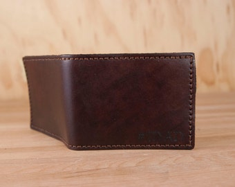 Personalized Leather Bifold Wallet - #1DAD Wallet with Inscription in dark mahogany - Handmade Leather Custom Best Dad Wallet - Father's Day