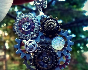 Iridescent Steampunk Gear Pendant