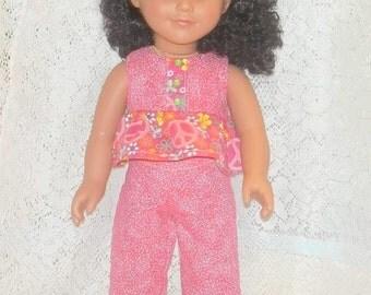 18 Inch Doll Clothes Peplum Top, Capri Pants, Sandals