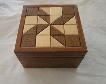 Handmade Wooden Keepsake Box - Mahogany, Walnut, and Maple woods