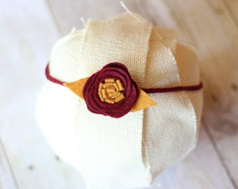 Seminoles Baby Headband, FSU Headband, Noles Headband, Football Headband, Garnet & Gold, College Football Baby, Felt Flower, Sorority Sister