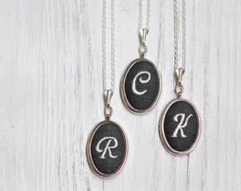 Monogram Initial Necklace. Initial Letter Necklace. Monogram Pendant. Hand Embroidered Initial Jewelry. Monogrammed Gifts For Her. Dark Grey