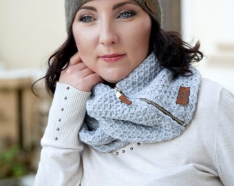 Snood / Wool snood/ Knitted snood/ scarf / zipper snood/ gift for her/ stylish snood/ knitted scarf / scarves