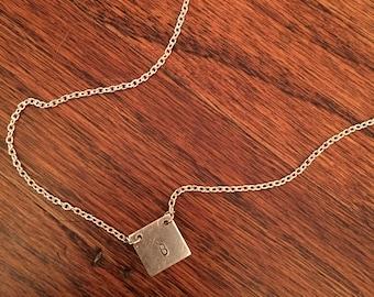 Handstamped Square Necklace