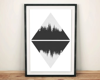 Forest Print, Forest Photography, Wood Wall Prints, Woods Art, Printable Wall Art, Photography Print, Geometric Print, Scandinavian Style