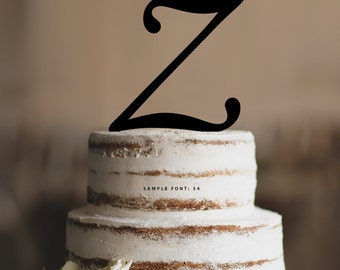 Personalized Monogram Initial Wedding Cake Toppers -Letter Z, Custom Monogram Cake Toppers, Traditional Initial Toppers-(T285)