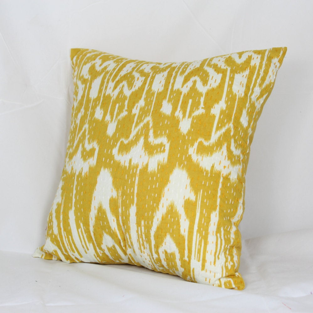 Quilted Decorative Pillow Covers : decorative cushion cover Indian quilted kantha cushion 16x16