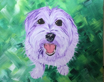 "CUSTOM PAINTING (12"" x 12"" x 2 3/4"") The Millie: Cheerful Custom Pet Painting"