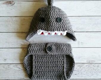 Crochet Shark Baby Set, Shark Baby Set, Crochet Shark Hat, Shark Costume, Shark Photo Prop, Photo Prop Baby Set