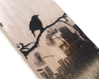 Wood bookmark - wooden bookmark - bird bookmark - blackbird bookmark - bird on a branch bookmark - book lover gift - unique bookmark