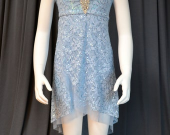 Beautiful Sky Blue Lyrical Dress With Rhinestone Applique