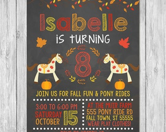 Autumn / Fall Birthday Invitation Horse Pony Ride Chalkboard | Fall Birthday Party Invite | Pony Party | Fall Pony Party Invite | Printable