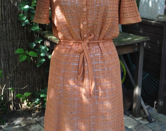 Dress orange pale made crochet