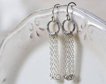 Sterling Silver Chain Tassle Drop Earrings