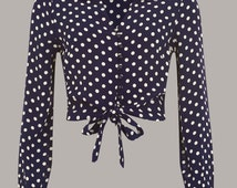 40's Authentic Inspired 'Clarice' Blouse in Navy spot