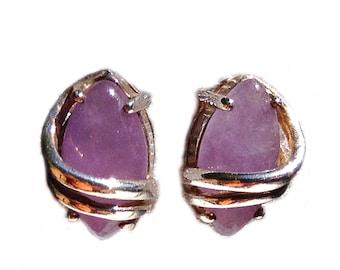 Vintage Avon Sterling Silver Amethyst Pierced Earrings