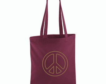 Peace Sign in Gold Tote Bag